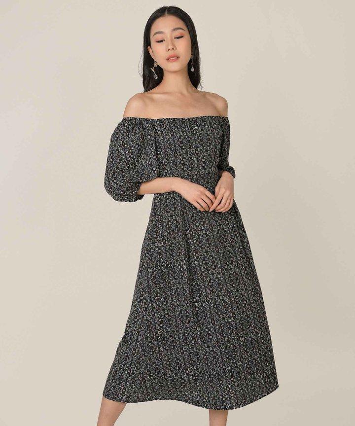 Artesia Floral Motif Midaxi Dress - Black
