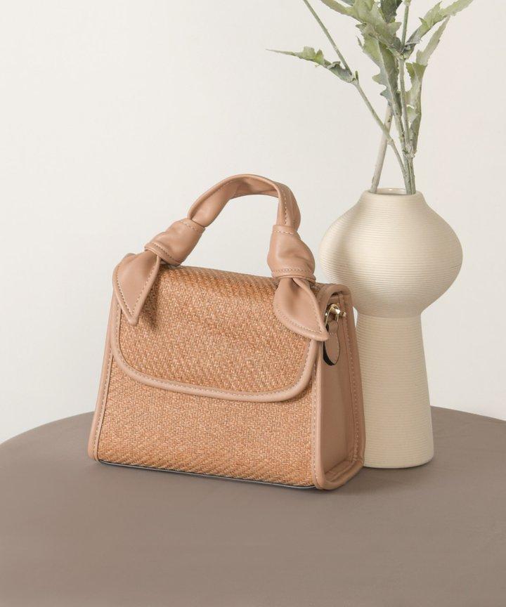 Bisou Faux Leather Trim Woven Handbag - Desert Rose