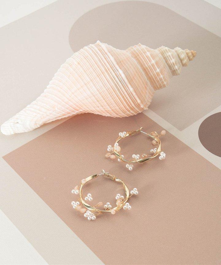 Brandice Pearl Hoop Earrings