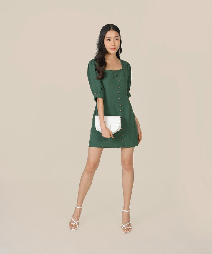 Caprice Button Down Dress - Hunter Green