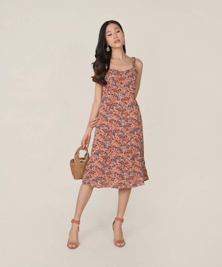 Chandelle Floral Slit Midi Dress - Soft Berry