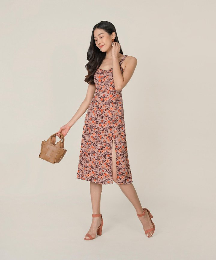 Chandelle Floral Slit Midi Dress - Soft Berry