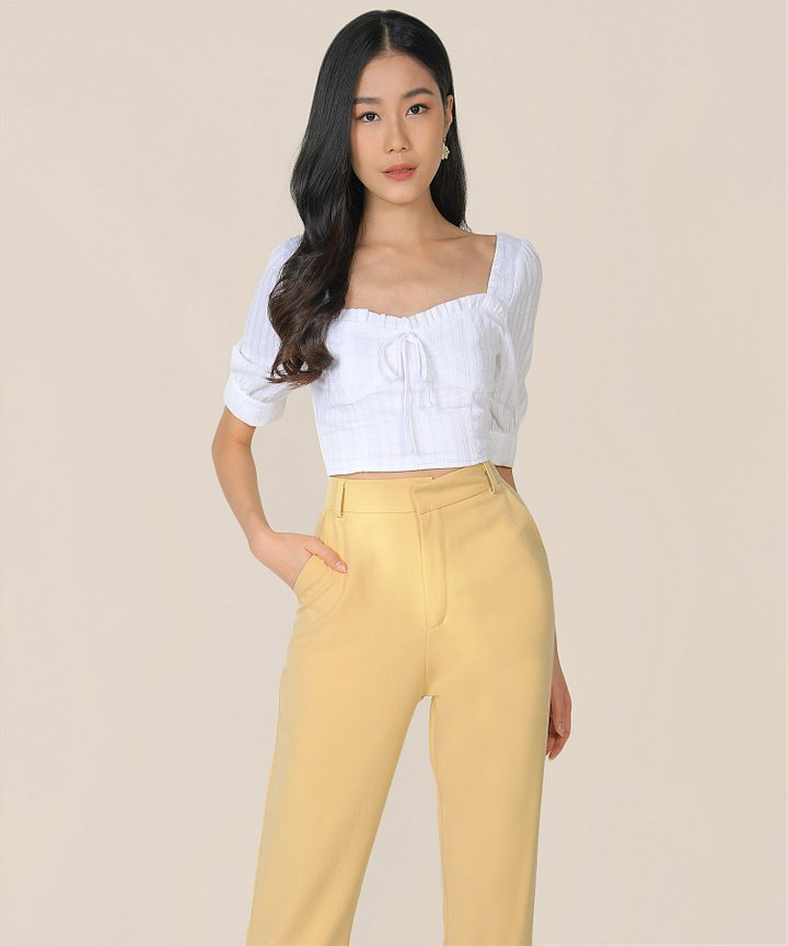 Cordelia Embroidered Cropped Top - White