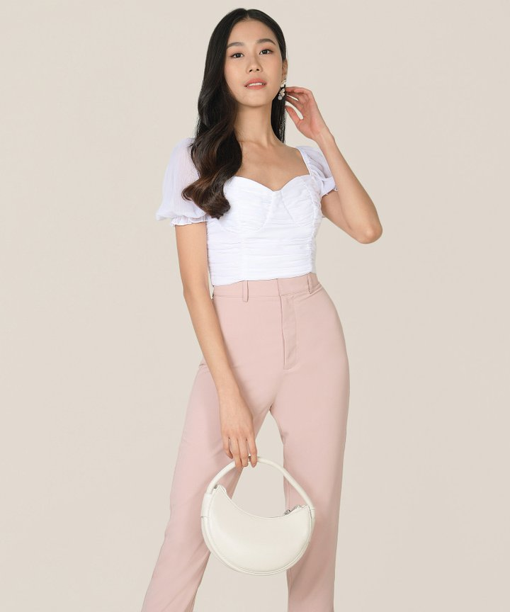 Esmire Ruched Cropped Top - Pearlescent