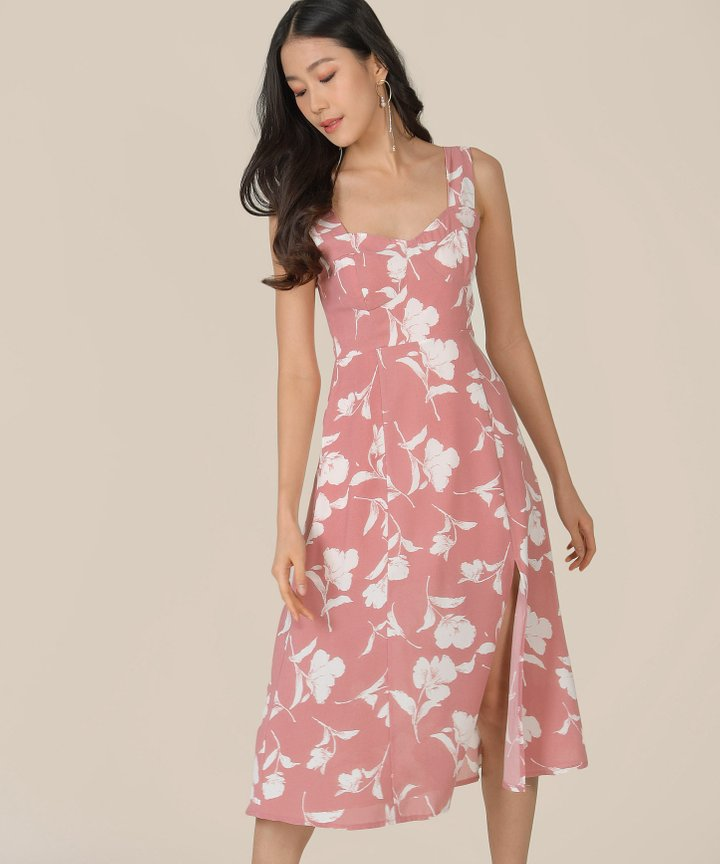 Freja Floral Midi Dress - French Pink
