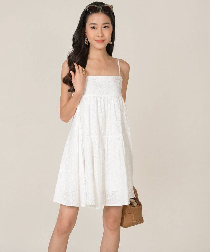 HVV Atelier Dulce Eyelet Babydoll Dress - White