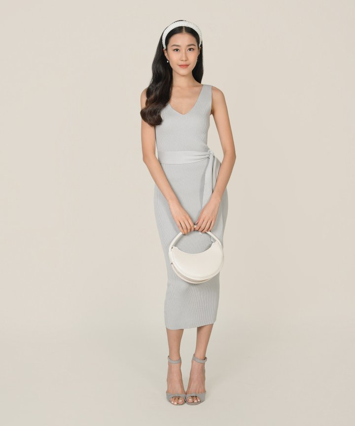 Keane Ribbed Knit Bodycon Midi Dress - Pebble (Backorder)