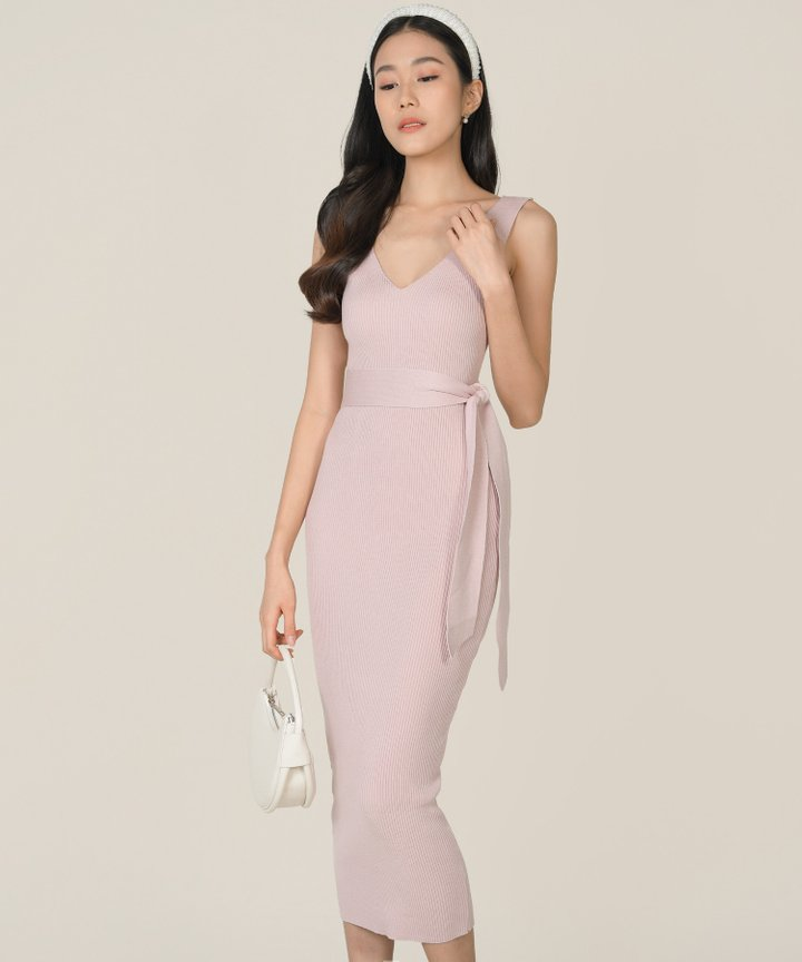 Keane Ribbed Knit Bodycon Midi Dress - Rose Ash (Backorder)