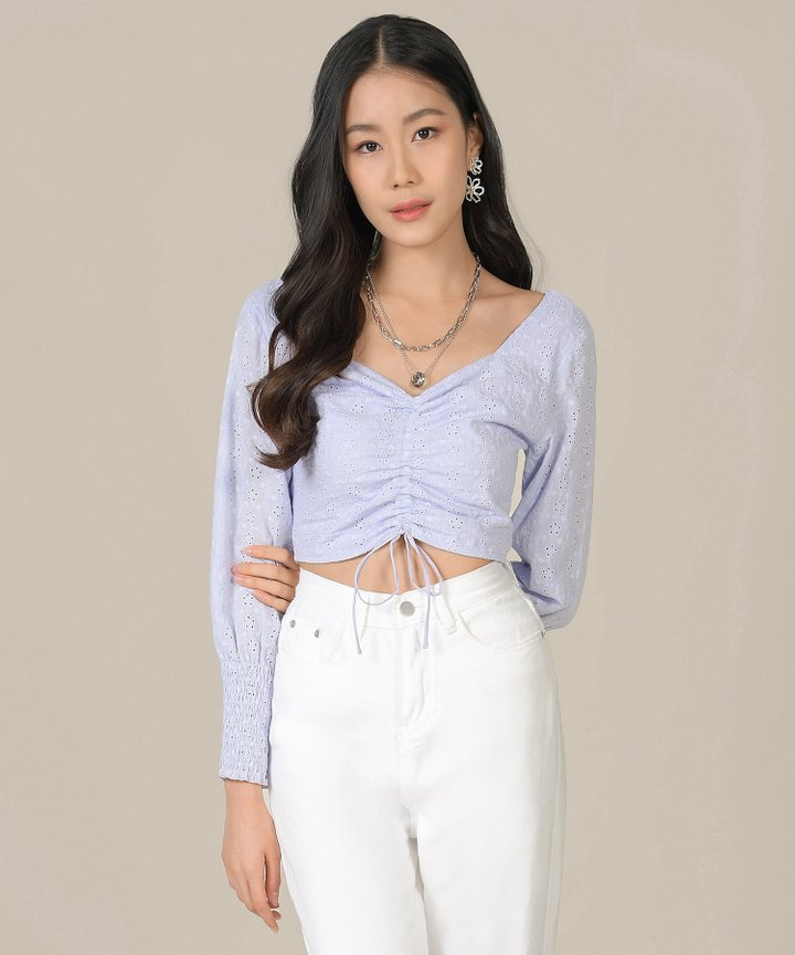 Mischa Eyelet Ruched Top - Lilac