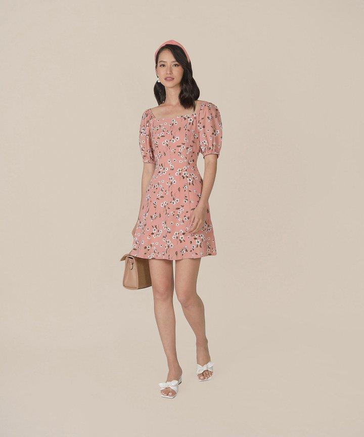 Ruth Floral Dress - Blush Pink