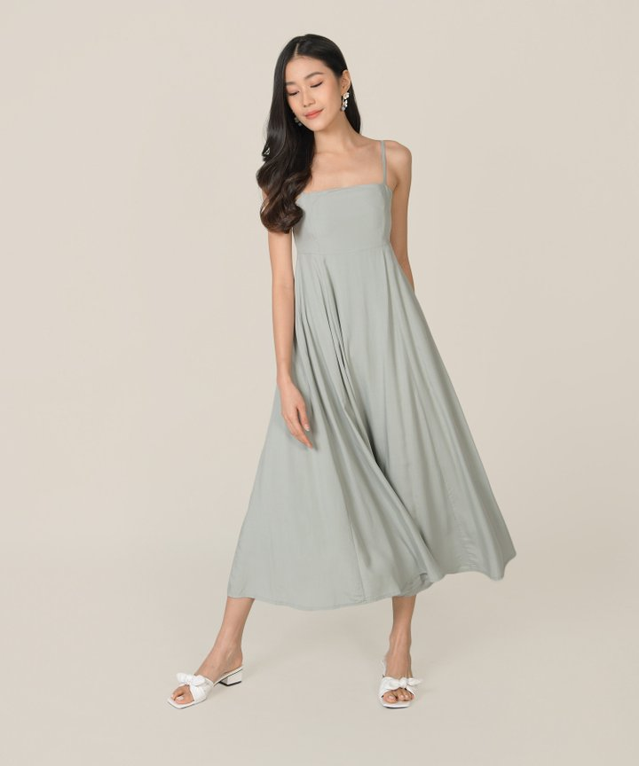 Tamsin Babydoll Maxi Dress - Sage