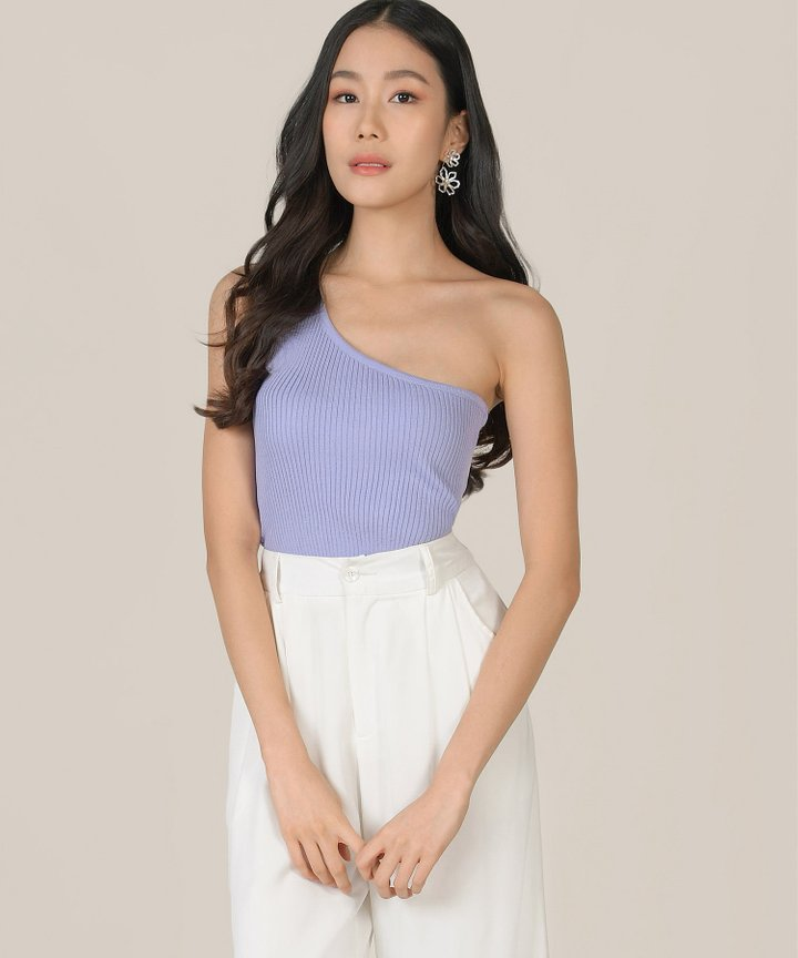 Twiggy Ribbed Knit Toga Top - Lilac