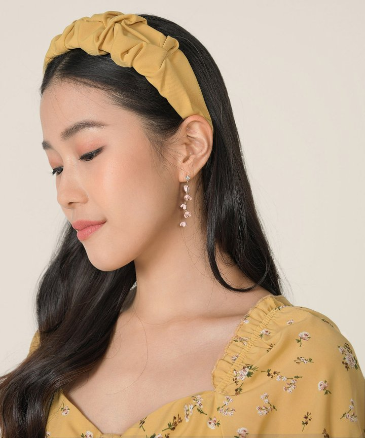 Astoria Ruched Hairband - Mustard