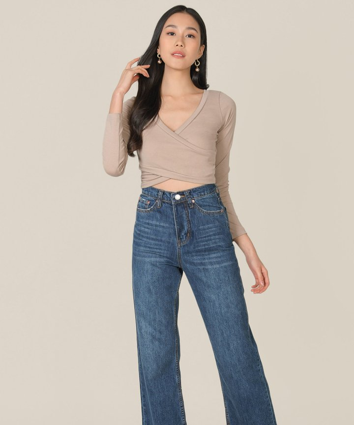 Clarion Wrap Cropped Top - Taupe