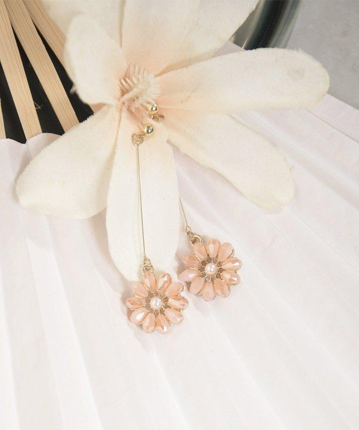 Gene Floral Drop Earrings - Pale Pink