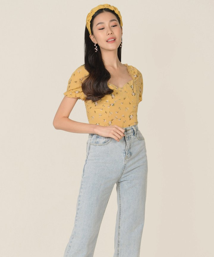 Hansel Floral Smocked Back Top - Mustard
