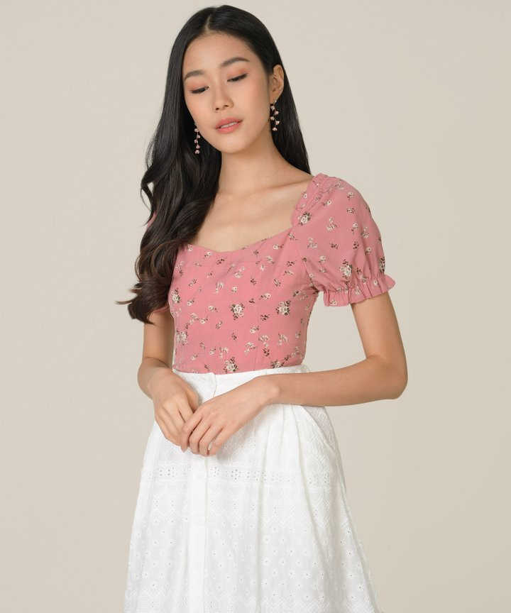 Hansel Floral Smocked Back Top - Rose Pink
