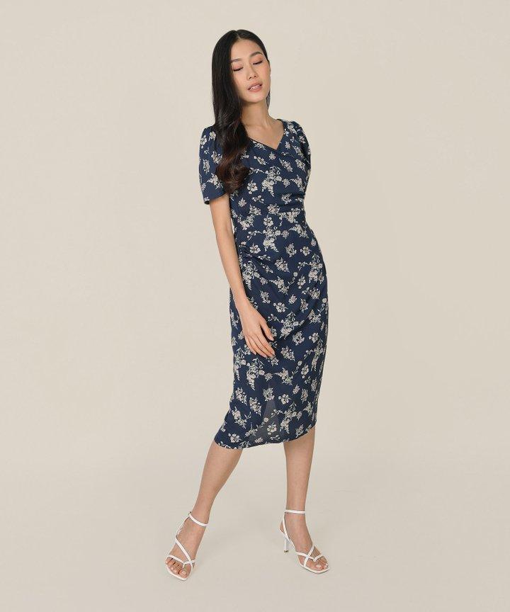 Roubelle Floral Overlay Midi Dress - Midnight Blue