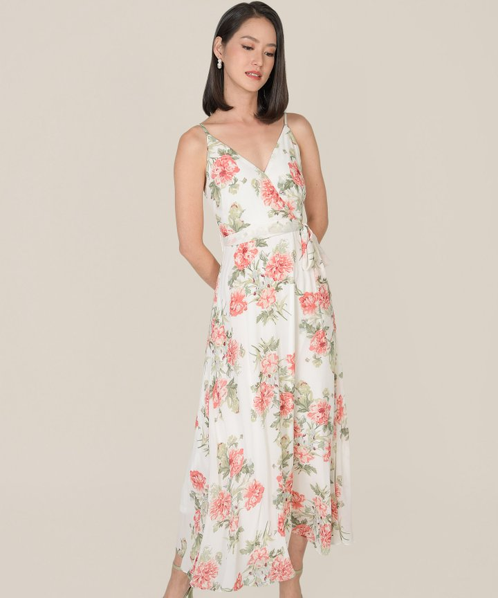 Afterglow Floral Overlay Maxi Dress - White