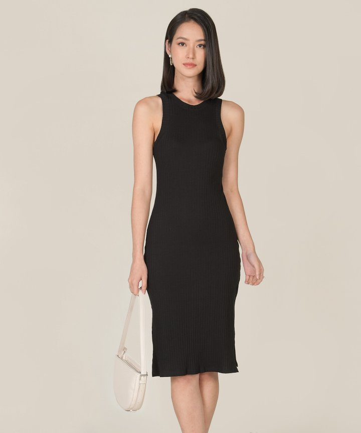 Anushka Knit Midi Tank Dress - Black