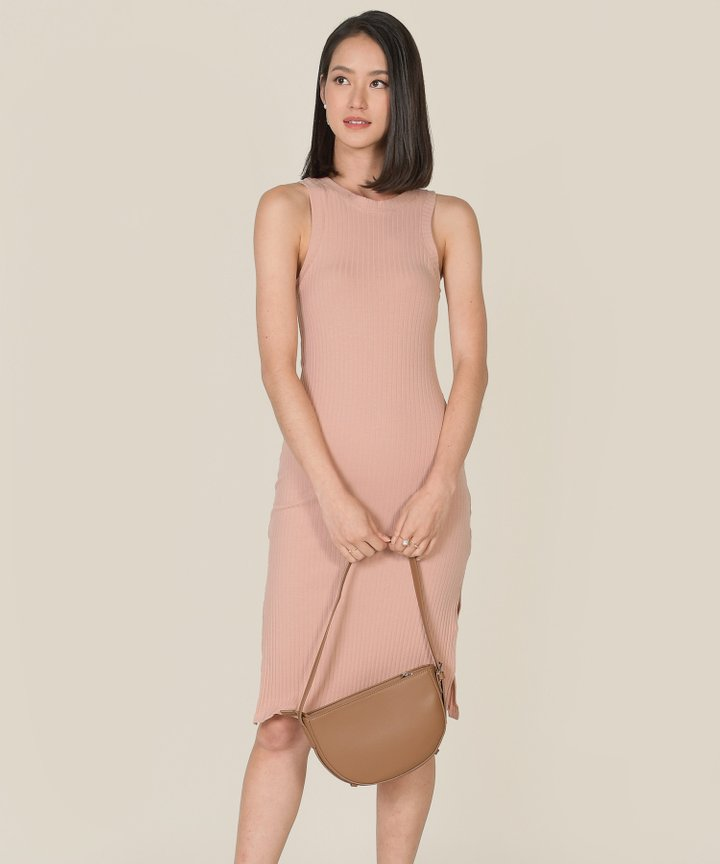 Anushka Knit Midi Tank Dress - Blush