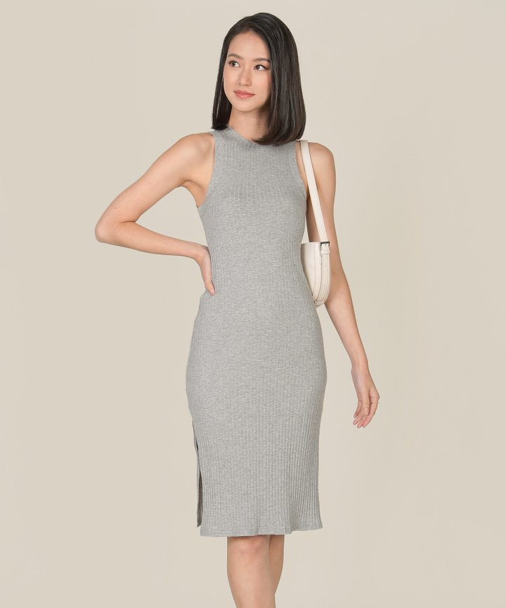 Anushka Knit Midi Tank Dress - Heather Grey