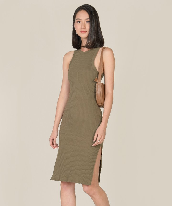 Anushka Knit Midi Tank Dress - Shamrock