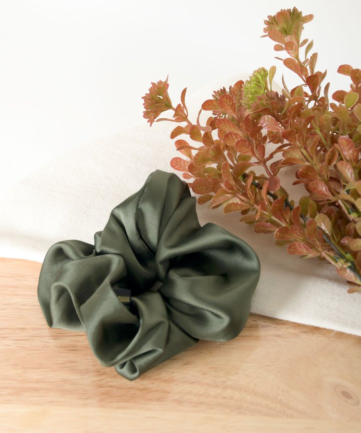 Aura Satin Scrunchie - Deep Olive