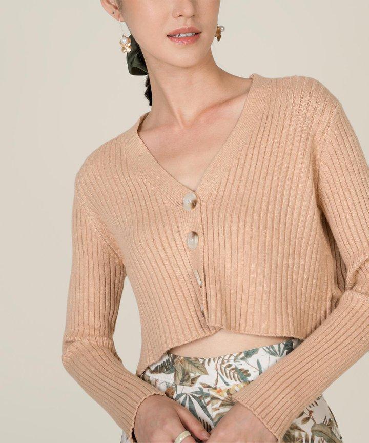 Avalon Knit Cropped Cardigan - Rose Latte