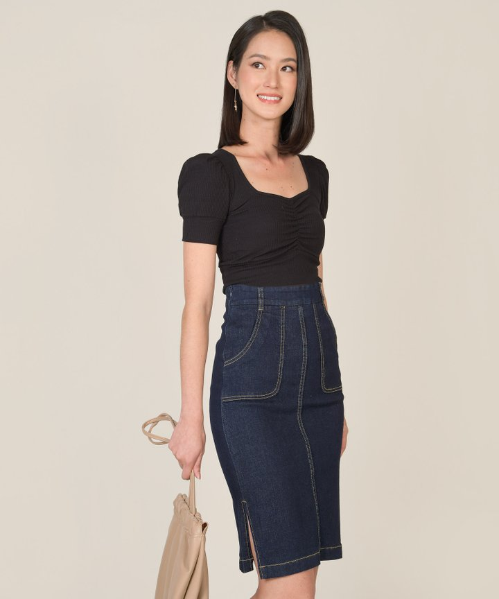 Afar Denim Midi Skirt - Dark Blue