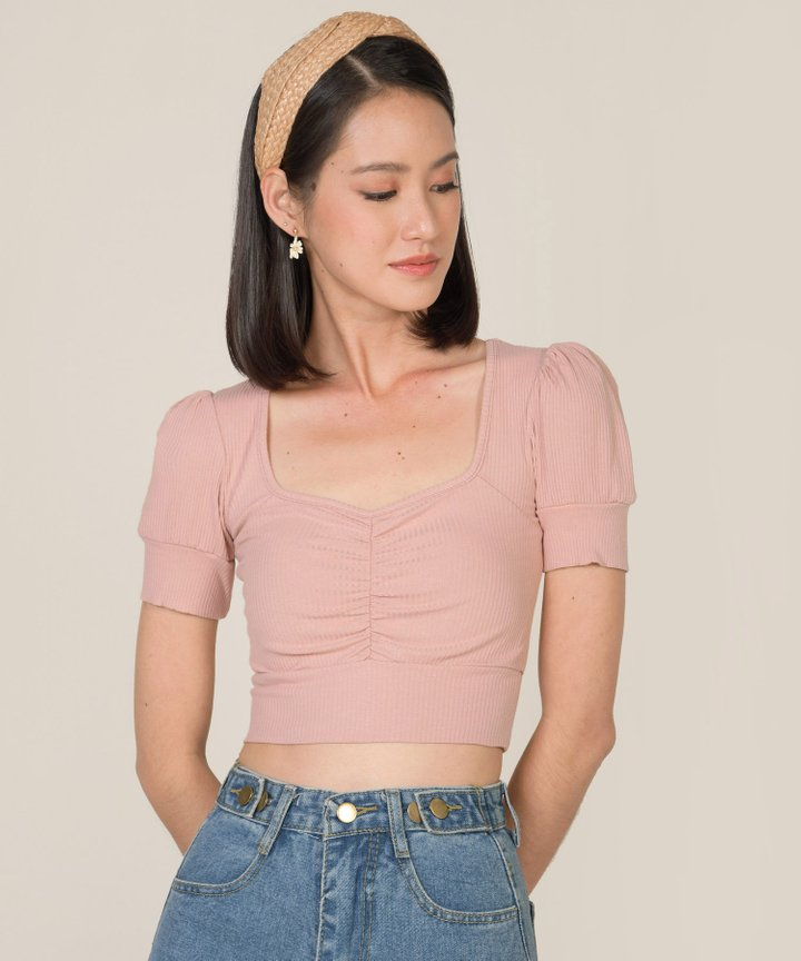 Bambi Knit Cropped Top - Blush