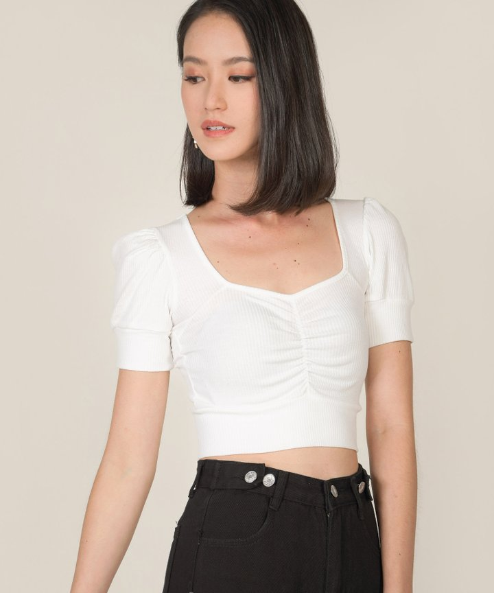 Bambi Knit Cropped Top - White