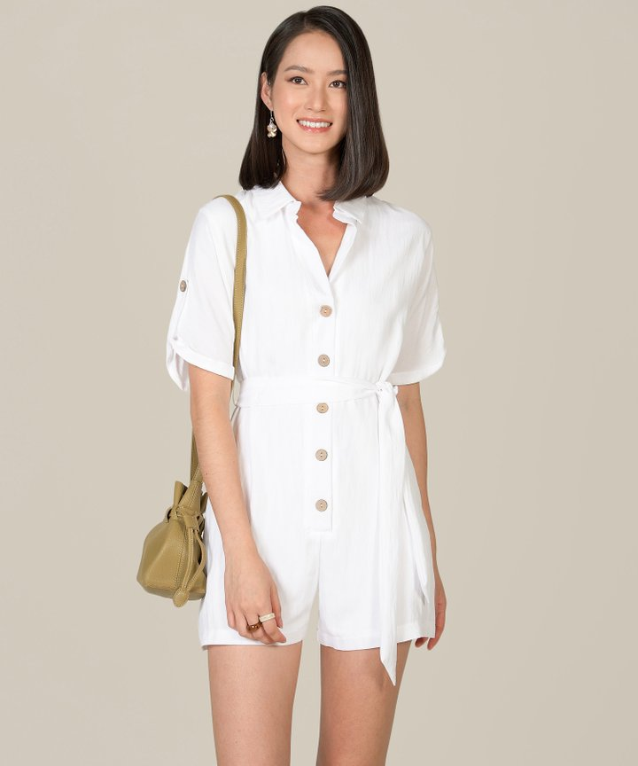 Calgary Oversized Button Down Playsuit - White