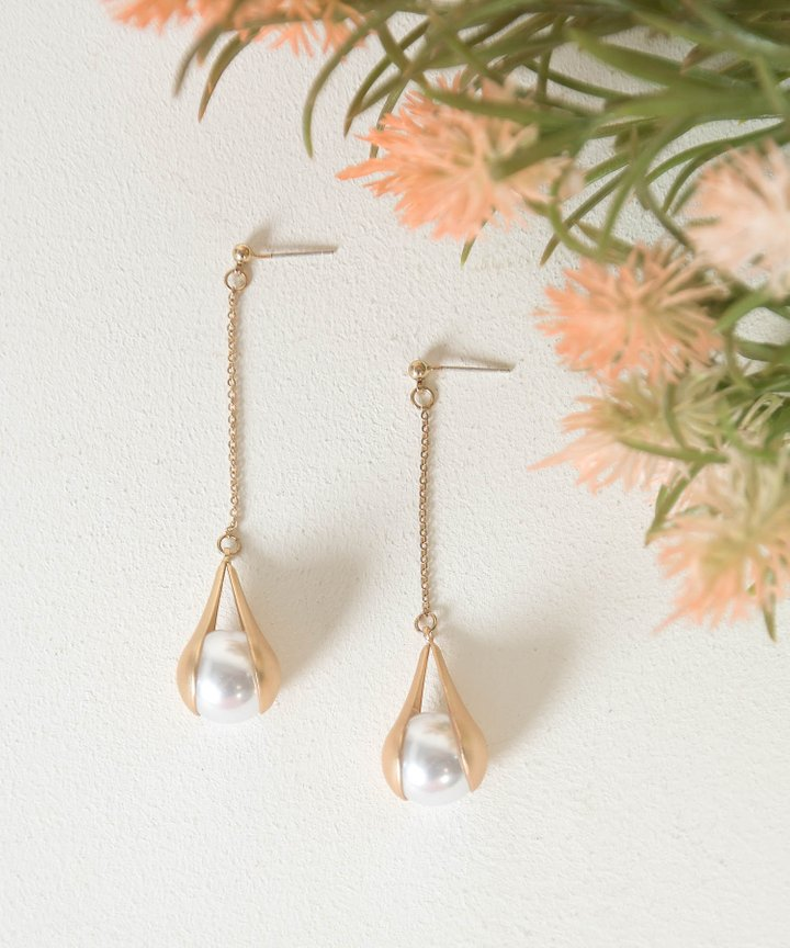Elfin Drop Pearl Earrings