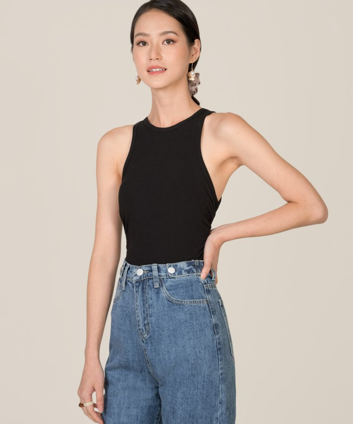 Fallon Knit Cropped Tank - Black