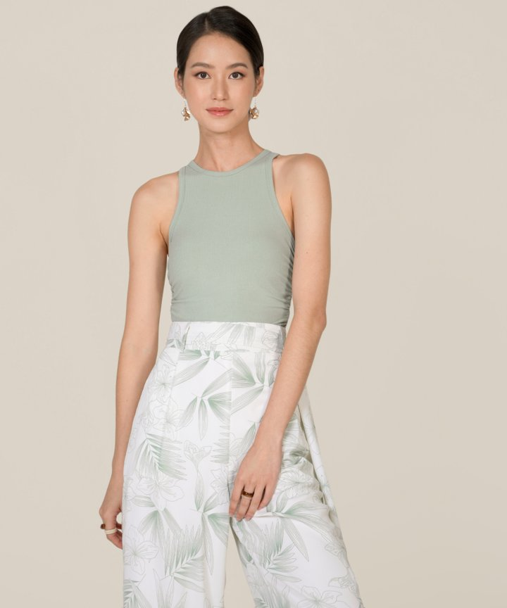 Fallon Knit Cropped Tank - Seafoam