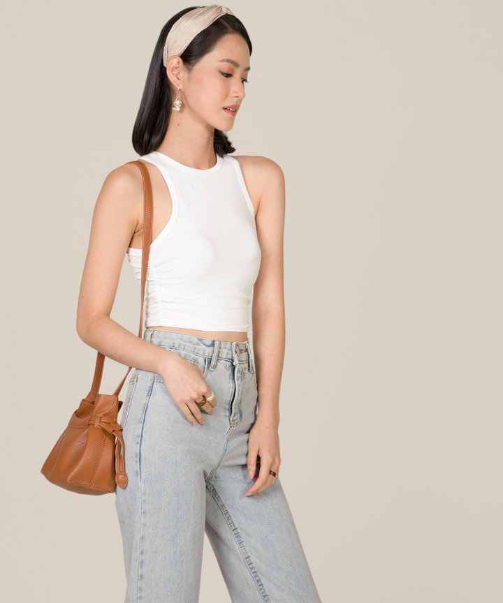 Fallon Knit Cropped Tank - White