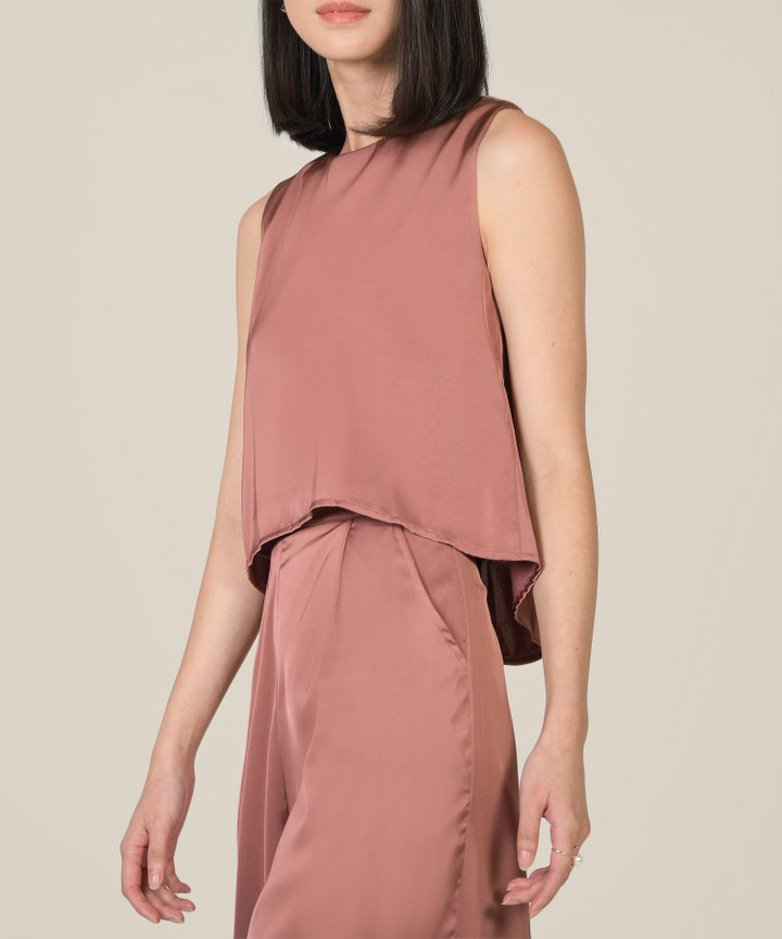 Geneva Satin Asymmetrical Top - Antique Mauve