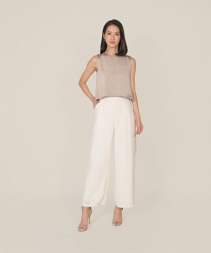 Geneva Satin Asymmetrical Top - Champagne