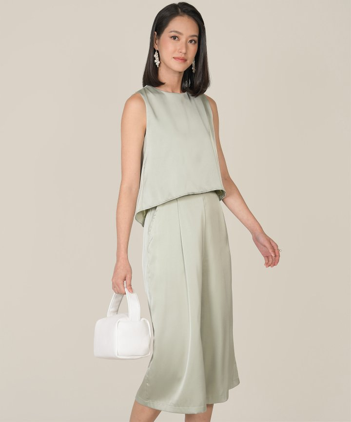 Geneva Satin Asymmetrical Top - Sage