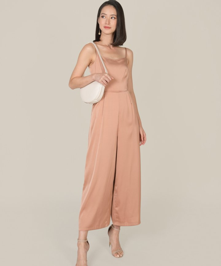 Glossier Satin Jumpsuit - Rose Gold