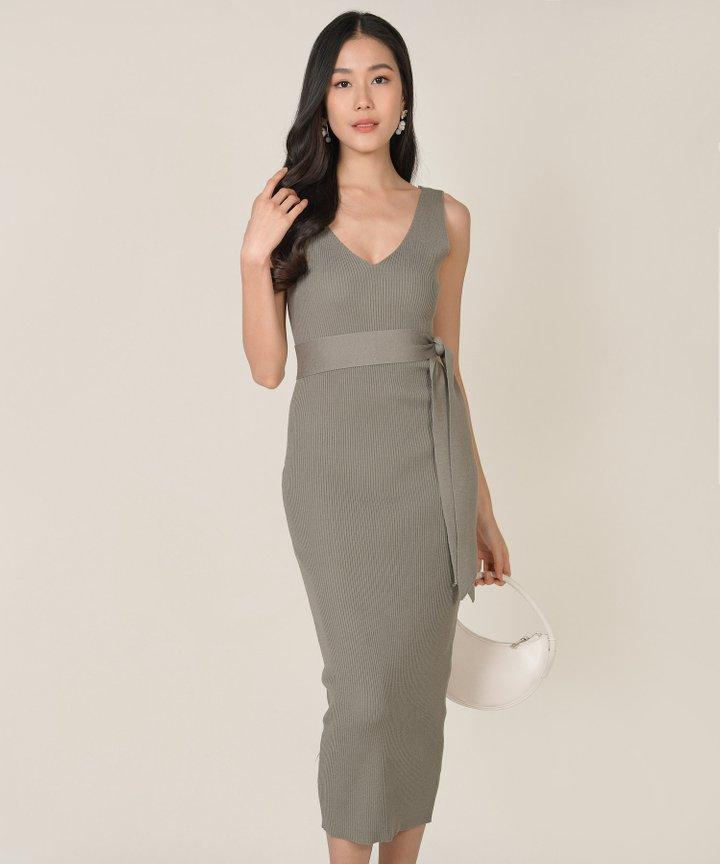 Keane Ribbed Knit Bodycon Midi Dress - Thyme (Backorder)