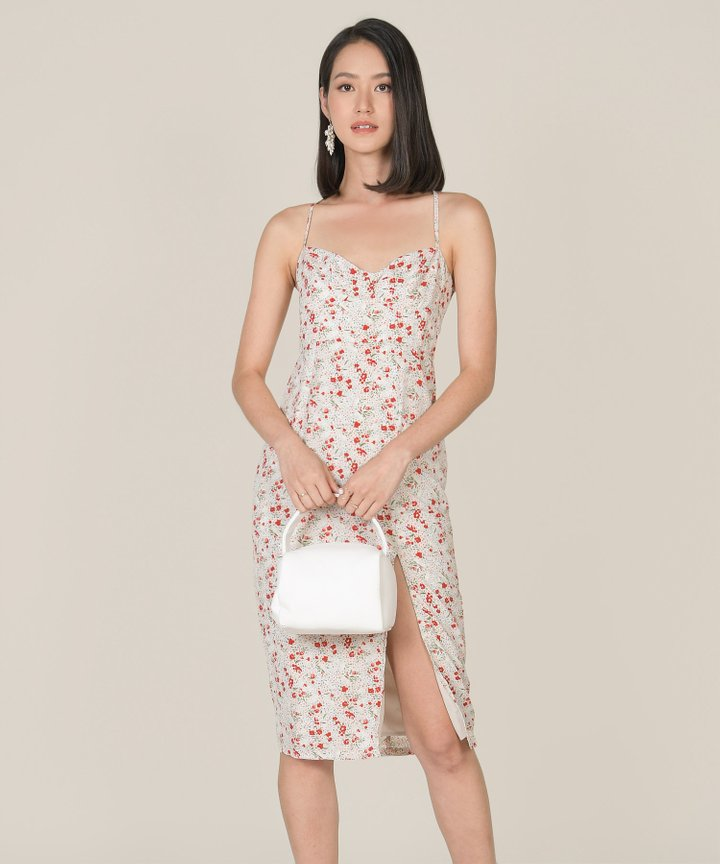 Lou Floral Midi Dress - Cream