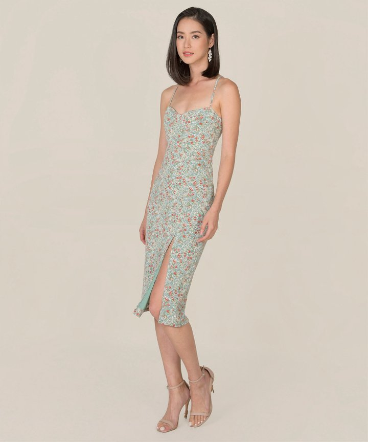 Lou Floral Midi Dress - Seafoam