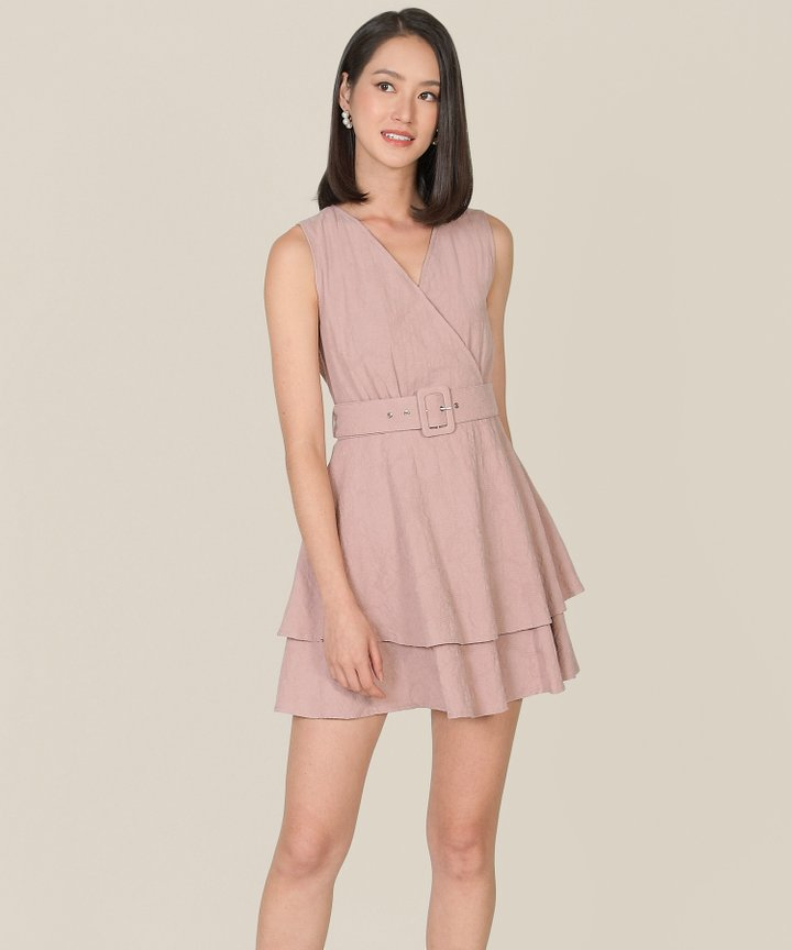 Margot Textured Tiered Dress - Dust Pink