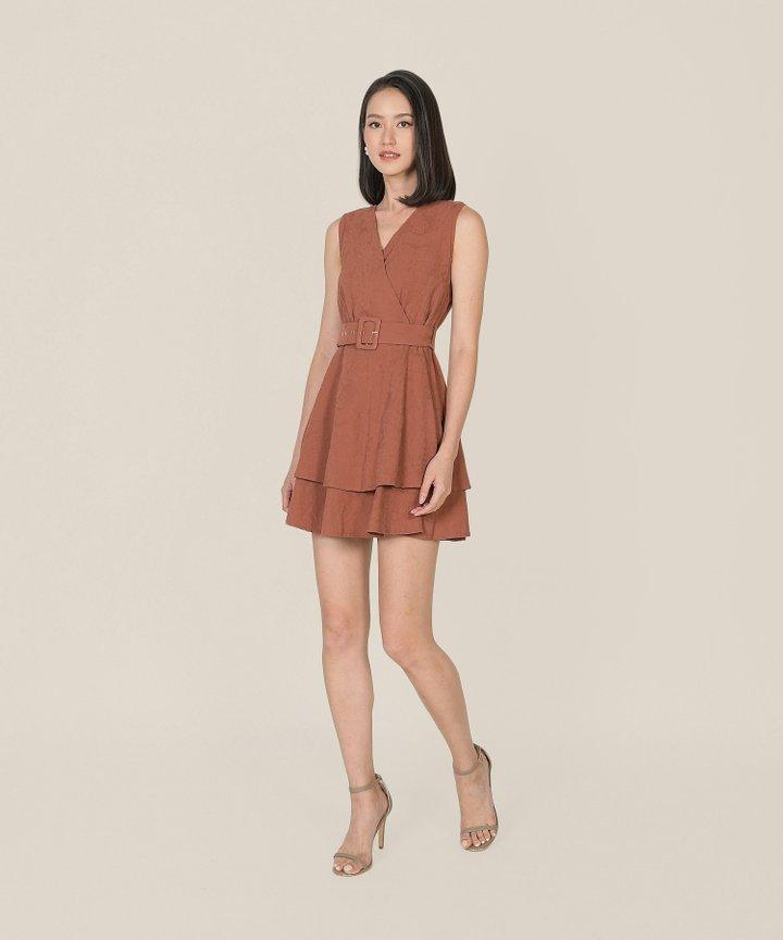 Margot Textured Tiered Dress - Redwood