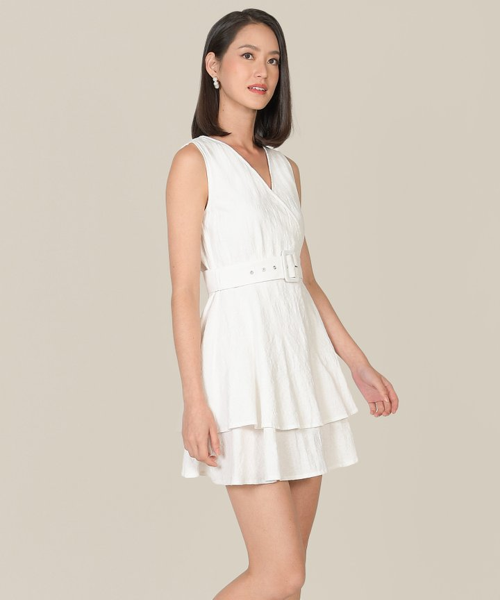Margot Textured Tiered Dress - White