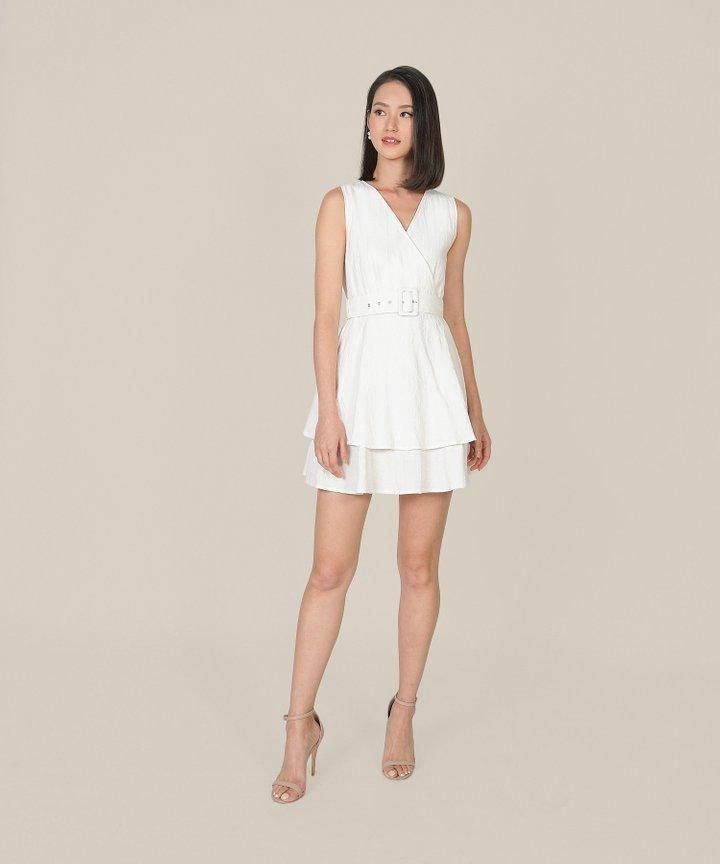 Margot Textured Tiered Dress - White