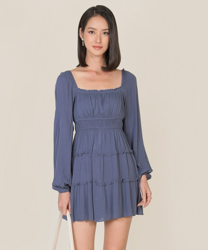 Mariposa Ruffle Tiered Dress - Dust Blue (Backorder)