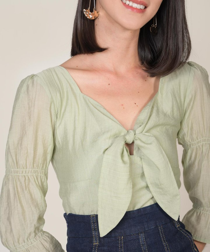 Maris Tie-Front Cropped Blouse - Sage